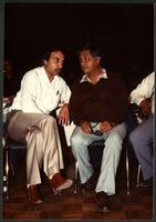 United Farmworkers of America President Cesar Chavez and CFU President Raj Chouhan at a CFU anniversary celebration in the Lower Mainland. Cicra 1980s.