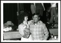 United Farmworkers of America President Cesar Chavez and CFU staff representative relax after a CFU anniversary celebration in the Lower Mainland. Comrades in arms. Cicra early 1980s.