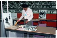 Canadian Labour Congress, Montreal, 1984. CFU delegate Sarwan Boal at CFU info table.