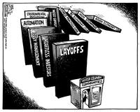 Layoffs, Heartless investors, Lousy management, Automation, Environmental regulations, Wood supply, Forest practices code, BC economy, Asian economy