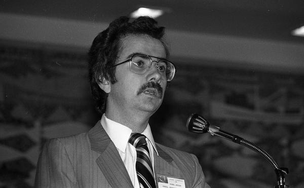 George Hewison speaking at the 1982 UFAWU (United Fishermen and Allied  Workers Union) Convention]   SFU Digitized Collections